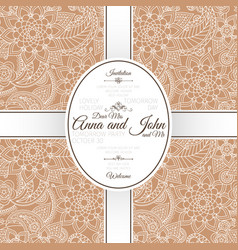 card with brown indian paisley pattern vector image vector image
