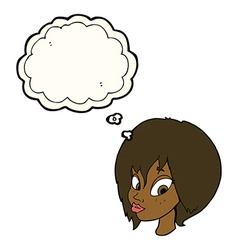 cartoon pretty female face pouting with thought vector image