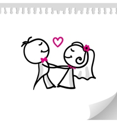 cartoon wedding couple vector image vector image