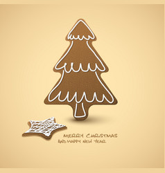 christmas card - gingerbreads with white icing vector image