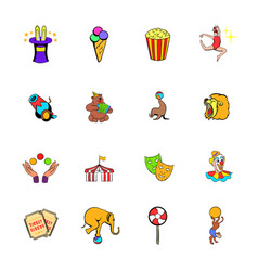 circus comics icons set cartoon vector image