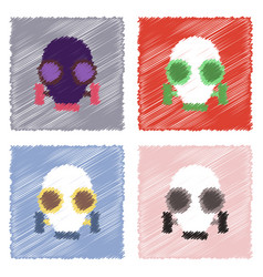 Collection of flat shading style icons gas mask vector