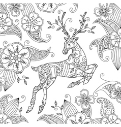 Coloring page with beautiful running deer and vector image