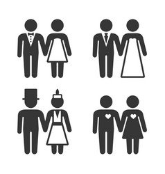 couple getting married icons set vector image
