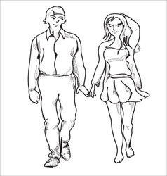 Couple walking vector