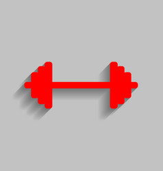 Dumbbell weights sign red icon with soft vector
