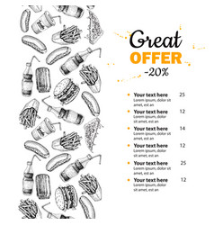 Fast food hand drawn menu hand drawn junk vector