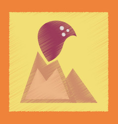 Flat shading style icon volcano erupting vector