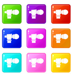 Hand microphone icons 9 set vector