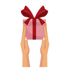 Hand unties a bow from the red ribbon on the gift vector