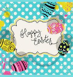 happy easter retro greeting card with vintage vector image vector image