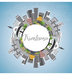 Kinshasa skyline with gray buildings vector