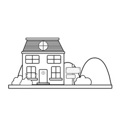 line house next to mountains and trees vector image