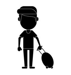man tourist travel suitcase pictogram vector image