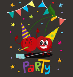 Party flayer with two cartoon cherry characters vector