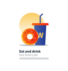 Red donut and blue tumbler glass with straw fast vector