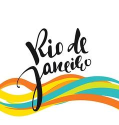 Rio de Janeiro inscription background colors of vector image