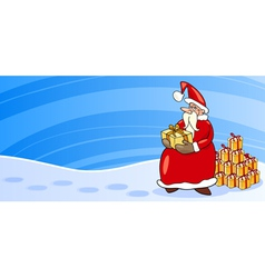 Santa Claus with presents cartoon card vector image