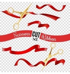 Scissors and ribbon transparent set vector