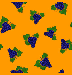 Seamless pattern grapes on yellow background vector