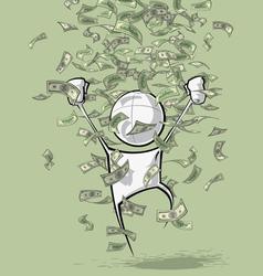 Simple people money rain vector