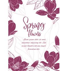 sketch linear magnolia blossom vector image