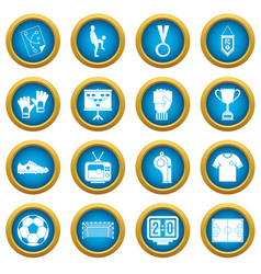 Soccer football icons blue circle set vector