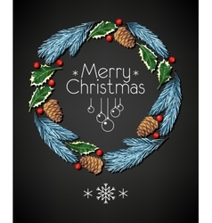 Spruce and holly christmas wreath vector image