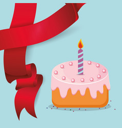 Sweet cake candle red ribbon vector