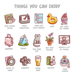 Things you can enjoy icons set vector image vector image