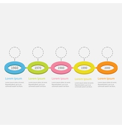 Timeline five step infographic colorful circles vector