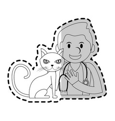 veterinarian with animal icon image vector image vector image
