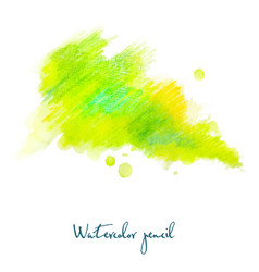 watercolor pencil in green vector image