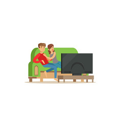 Young couple watching tv people sitting on a sofa vector