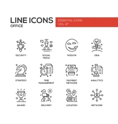 Business - flat design line icons set vector