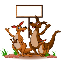 family kangaroo with blank board vector image
