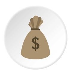 Bag with dollars icon flat style vector
