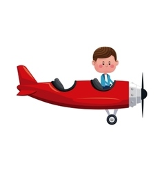 Boy fly red airplane lovely vector