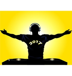 Dj shilouette with 2017 t shirt vector