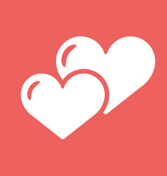Two heart icon white symbol of love on red vector