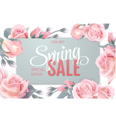 pink soft floral background with frame and spring vector image