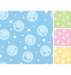 Emoticons four seamless patterns backgrounds vector