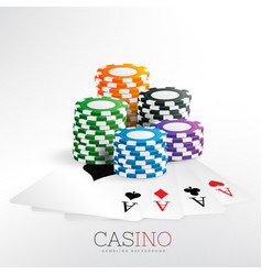 Casino gaming chips with playing cards vector