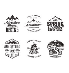 Spring adventure and mountain explorer typography vector