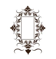 rustic frame floral decoration crest vector image