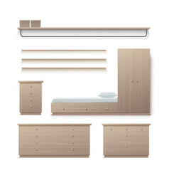 Set of wardrobe furniture vector