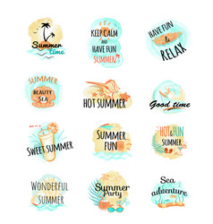 Set of summer logo icons summer time vector