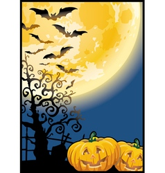 Scary pumpkins by night vector