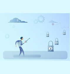 Business man hold key choosing lock opportunity vector
