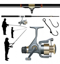 Fishing rod reel hook vector